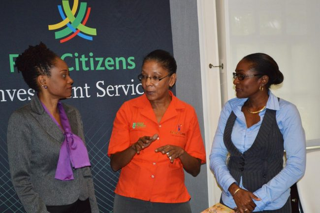 The NCF's Senior Festival and Events Planner Karen Pestaina (centre) shares a moment with Elizabeth Morgan, Country Manager with First Citizens Investment Services - Barbados (left) and Simone Codrington, the NCF's Corporate Communications Specialist.