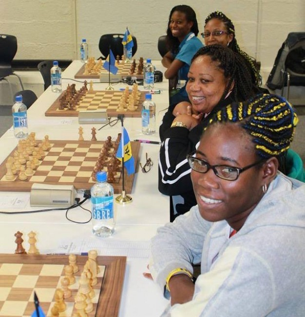 Barbados' female chess team (from right to left)Katrina Blackman, Donna Murray-Forde, Sheena Ramsay and Lydia Nurse.