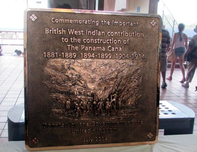 Plaque honouring West Indian contribution to the Canal.