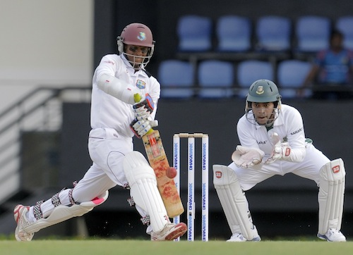 Shivnarine Chanderpaul was an island of calm in the morning session as wickets and big shots rained around him. (Photo courtesy WICB)