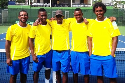 (From left) Russell Moseley,  Seanon Williams, Kevin Yarde, Darian King and Haydn Lewis.(FP)
