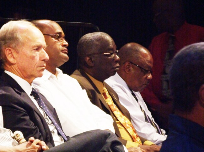From left, UWI Campus Council chairman Paul Altman, Senator Patrick Todd, Minister of Education Ronald Jones and Minister of Health John Boyce.