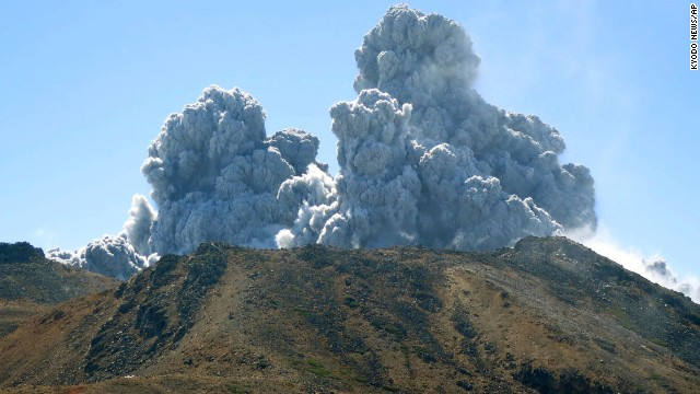 Plumes of smoke and ash rise as over Mount Ontake in central Japan on Saturday.