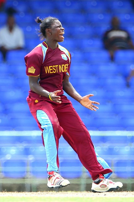 Tremayne Smartt screams her delight after taking her fifth wicket.