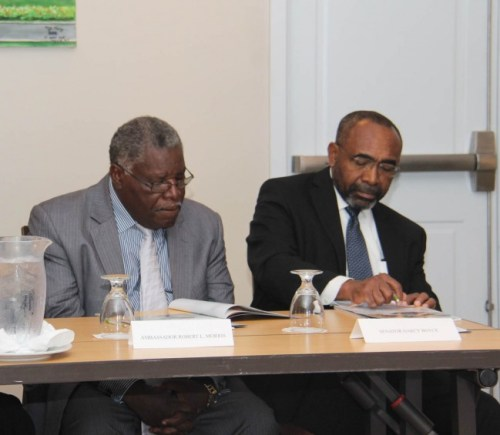 """Barbados' Ambassador to CARICOM Robert """"Bobby"""" Morris (left) and Minister in the Office  of the Prime Minister Senator Darcy Boyce."""