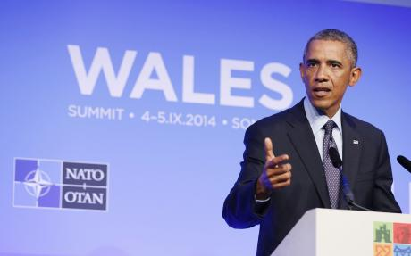 President Barack Obama speaking at a news conference after the NATO Summit.