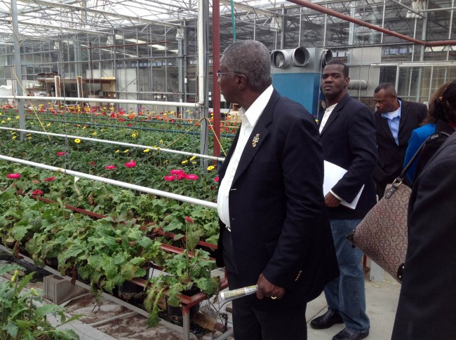 Prime Minister Freundel Stuart touring a greenhouse during his two-day visit to New Zealand.