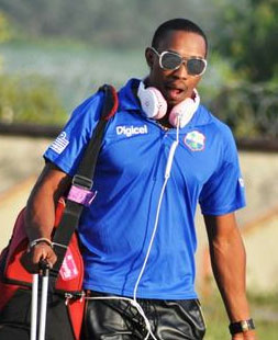 Dwayne Bravo as he arrived in Dharamsala with the West Indies team today.
