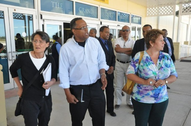 Officials from the Pan American Health Organization and          the World Health Organization in Grand Bahama yesterday.