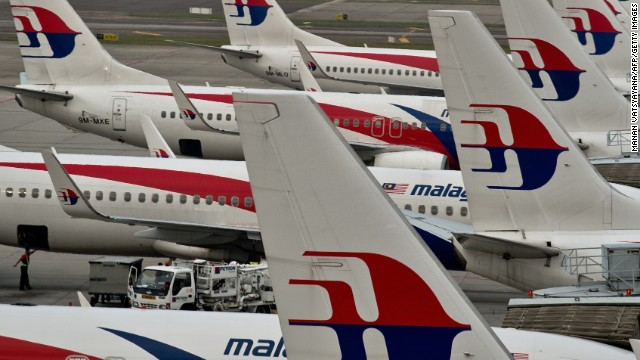 Malaysia Airlines planes parked on the tarmac at the Kuala Lumpur International Airport in Sepang