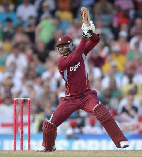 Marlon Samuels top-scored with 56 in West Indies' poor batting display.