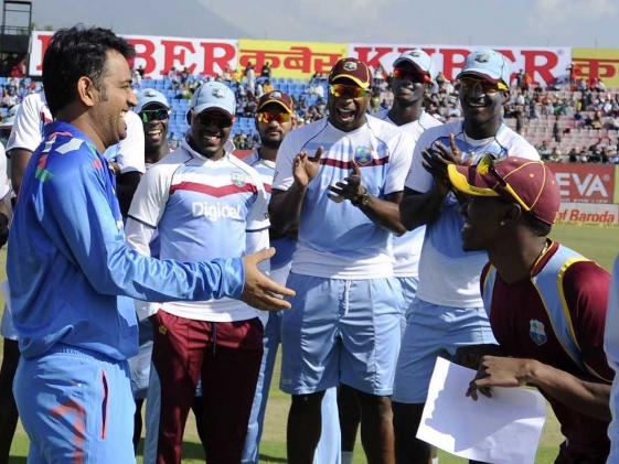 Smiles all around but  not a happy time in India for the West Indies.