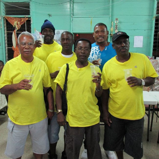 St Martins in celebration mode. Ian Callender, Rawle Williams and Anthony Agard (back row), Cedric Fields, Richard Grazette and captain Darwin Lorde (at front).