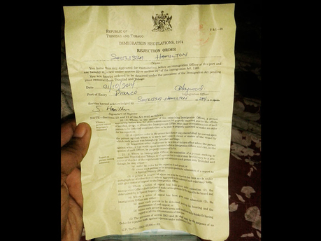 The rejection order handed to Jamaican Shelissa Hamilton after she attempted to enter Trinidad.