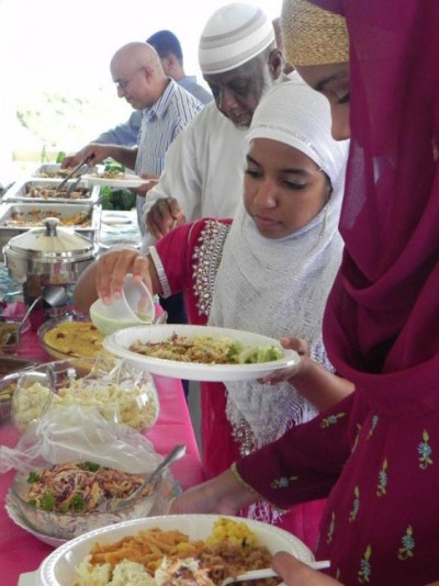 Lunch being served at the Muslim celebration.