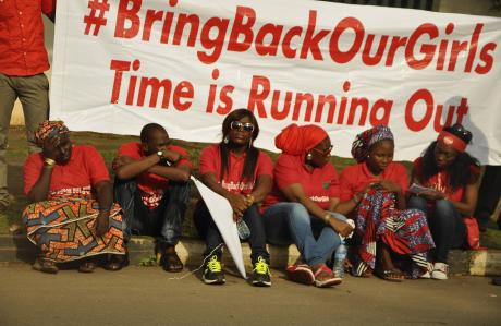 People protesting for the return of the abducted Nigerian schoolgirls.