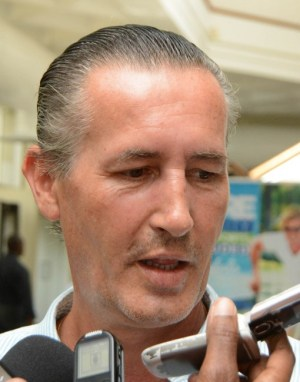 General manager of Sandals Barbados Josef Zellner speaking to reporters.