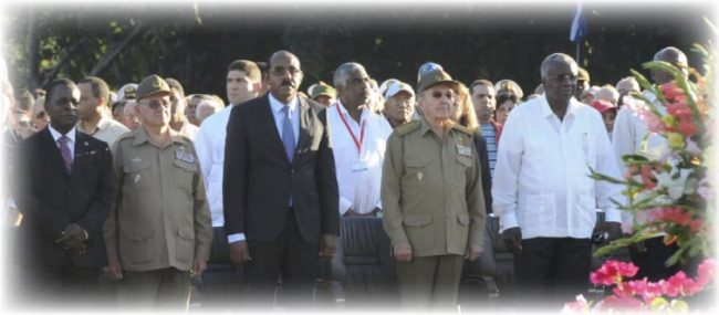 At the Fifth CARICOM-Cuba Summit in Havana just before President Raul Castro (third from right front) addressed the gathering. Second from right front is Prime Minister Freundel Stuart.