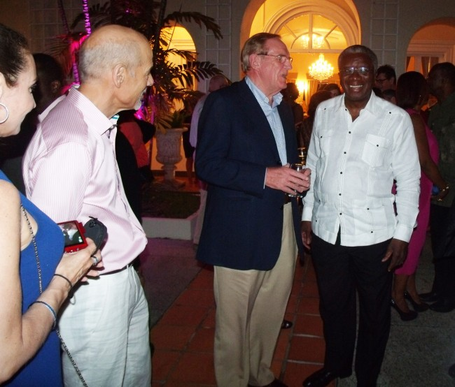Prime Minister Freundel Stuart was the most sought after official at the visitors cocktail reception.