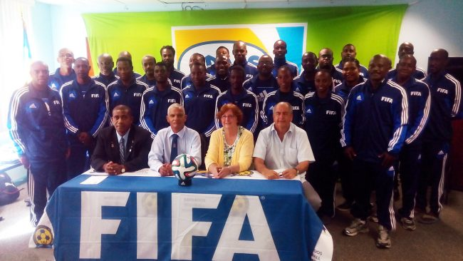Participants in FIFA's Grassroot coaching course along with (from left front) FIFA instructor Lenny Lake, chairman of the BFA's technical committee Adrian Donovan, general secretary of the BFA Joyce Stewart and technical director Marcos Falopa.