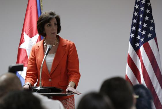 U.S. Assistant Secretary for Western Hemisphere Affairs Roberta Jacobson speaks during a conference in Havana.