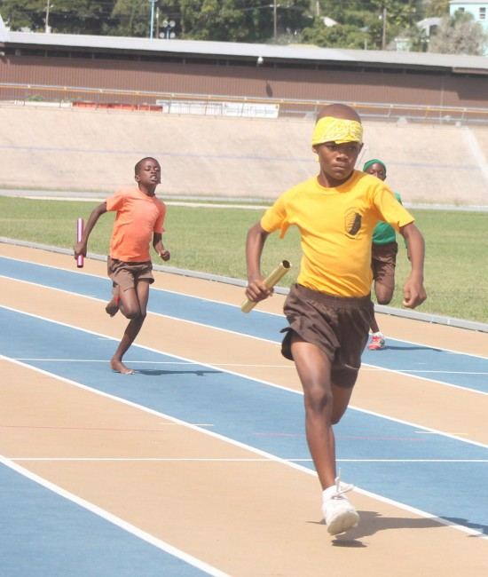 Under-11 boys division champion Shayne Trotman of Yellow House anchored his house to victory in the 4x100m.