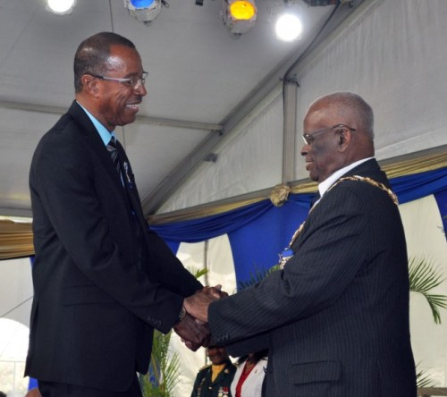 McFingall shaking the Governor General's hands after receiving his award.