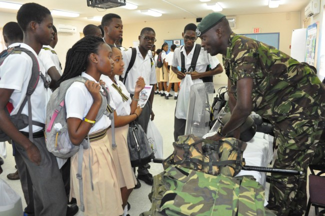 Throughout the day many of the students showed a keen interest in the Barbados Defence Force booth.