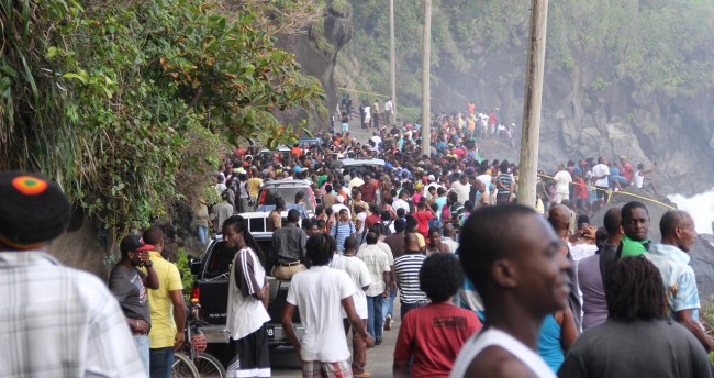 Many residents of north-eastern St Vincent were  at the scene today.