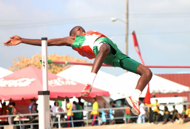 Clevonne Moore of Frederick Smith won the under-15 boys high jump with this excellent leap.