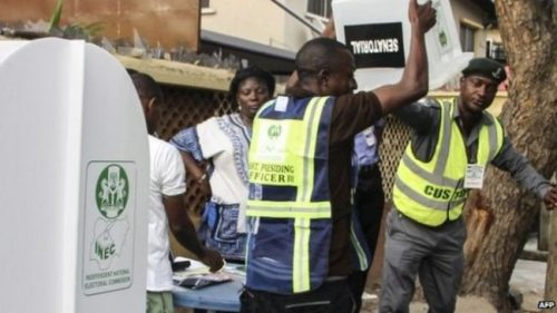 Election officials started the counting process at a polling station in Lagos on Friday.