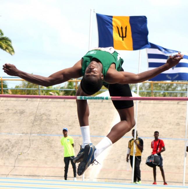 Lester Vaughan's Antonio Farrell won the under-17 boys high jump.