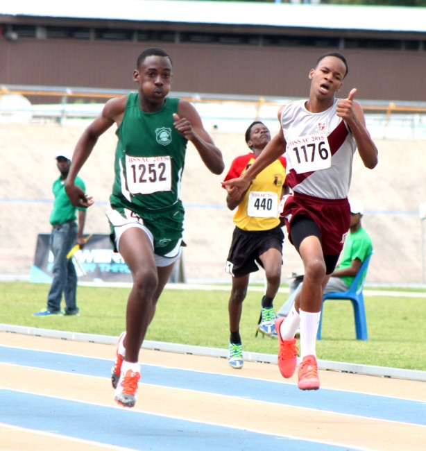 Quamie Neblett of Lester Vaughan captured the  under-15 boys 400m.