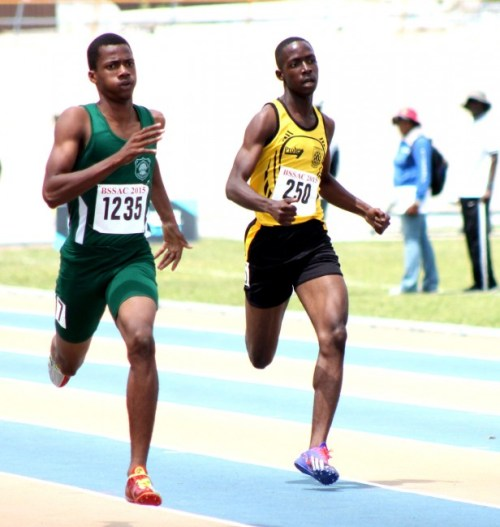 Stephen Griffith held off competition from Deshon Trent of Foundation to advance to the semi-final round of the under-20 boys 400m with the fastest time.