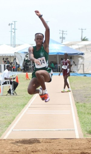 Tiana Bowen of Lester Vaughan won the under-17 girls long jump with a leap of 5.13m.