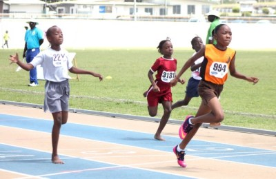Tonika Griffith of Lawrence T. Gay Primary won the under-nine girls 80m dash easily.