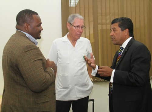 GREAT MINDS THINK ALIKE! From left, researcher and lecturer in the Department of Economics at the University of the West Indies (UWI), Cave Hill Campus, Troy Lorde; Williams Industries CEO Ralph Bizzy Williams; and Republic Bank (Barbados) chief executive officer and managing director Ian De Souza.