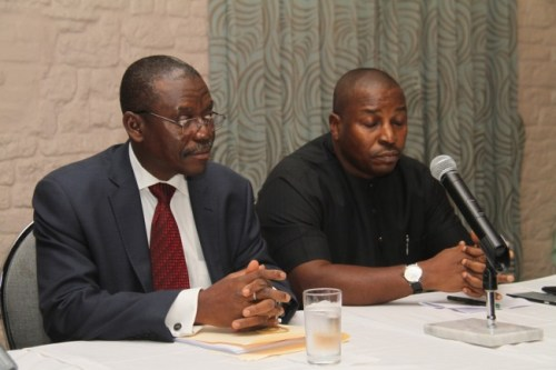 From left Commissioner of Higher Education Charles Emetulu and Attorney General and Commissioner for Justice Charles Ajuyah.
