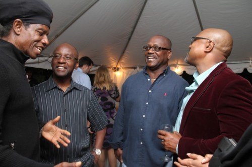 Eddy Grant with Minister of Culture Stephen Lashley, former MP Noel Lynch and travel agent Indar Weir.