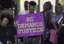 Protestors in North Charleston yesterday.