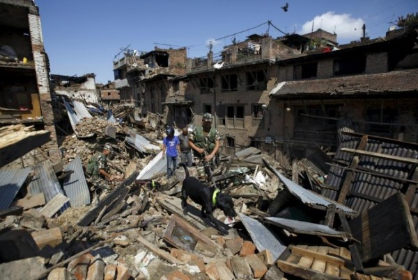 Nepalese army personnel and a sniffer dog search for victims amidst the rubble of collapsed houses in Bhaktapur.