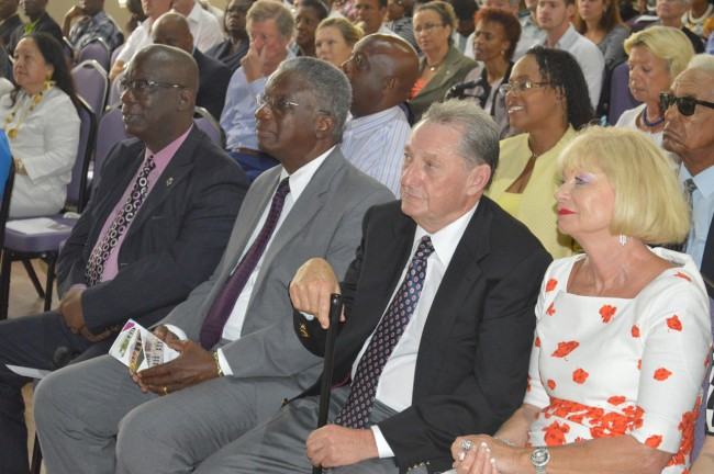 In the audience at this morning's ceremony, including (from left)  Minister of Education Ronald Jones, Prime Minister Freundel Stuart, benefactor Derrick Smith and wife Gay.