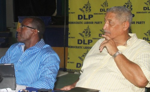 DLP General Secretary George Pilgrim (left) and party stalwart Patrick Gollop at today's news conference.