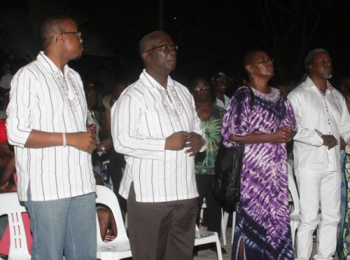 Acting Minister of Culture, Sports and Youth Ronald Jones (second from left) at the concert in Independence Square.