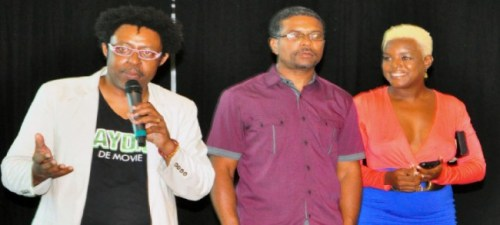 The Bajans In Motion team Ricky Redman, Selwyn Browne  and Shakirah Bourne at the movie Next Payday screening.