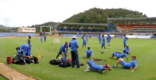West Indies team training today ahead of the second Test.