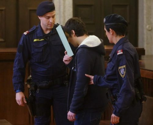 A 14-year-old terror suspect, who has been accused of preparing to join militant fighters in Syria and researching how to build a bomb, is led into court by prison guards in St. Poelten, Austria.