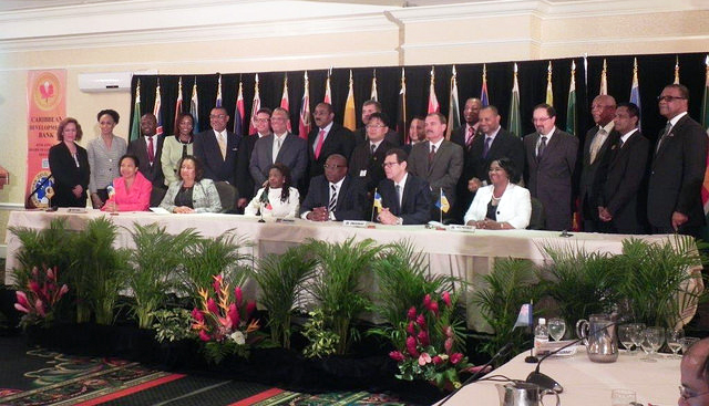 The board of the governors of the Caribbean Development Bank attending the 45th annual meeting in St Kitts and Nevis yesterday.