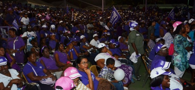 Thousands attended the NDPs final rally on Saturday night in Paramaribo.