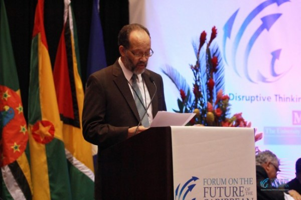 CARICOM Secretary General Irwin LaRocque addressing this week's Forum On The Future Of The Caribbean.